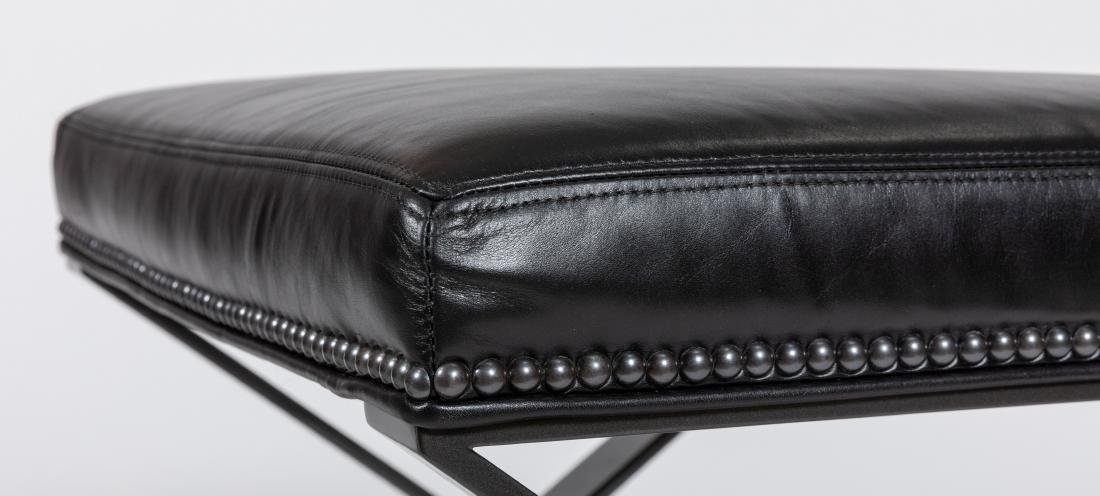 Metal and Leather X Benches - Pair - 2
