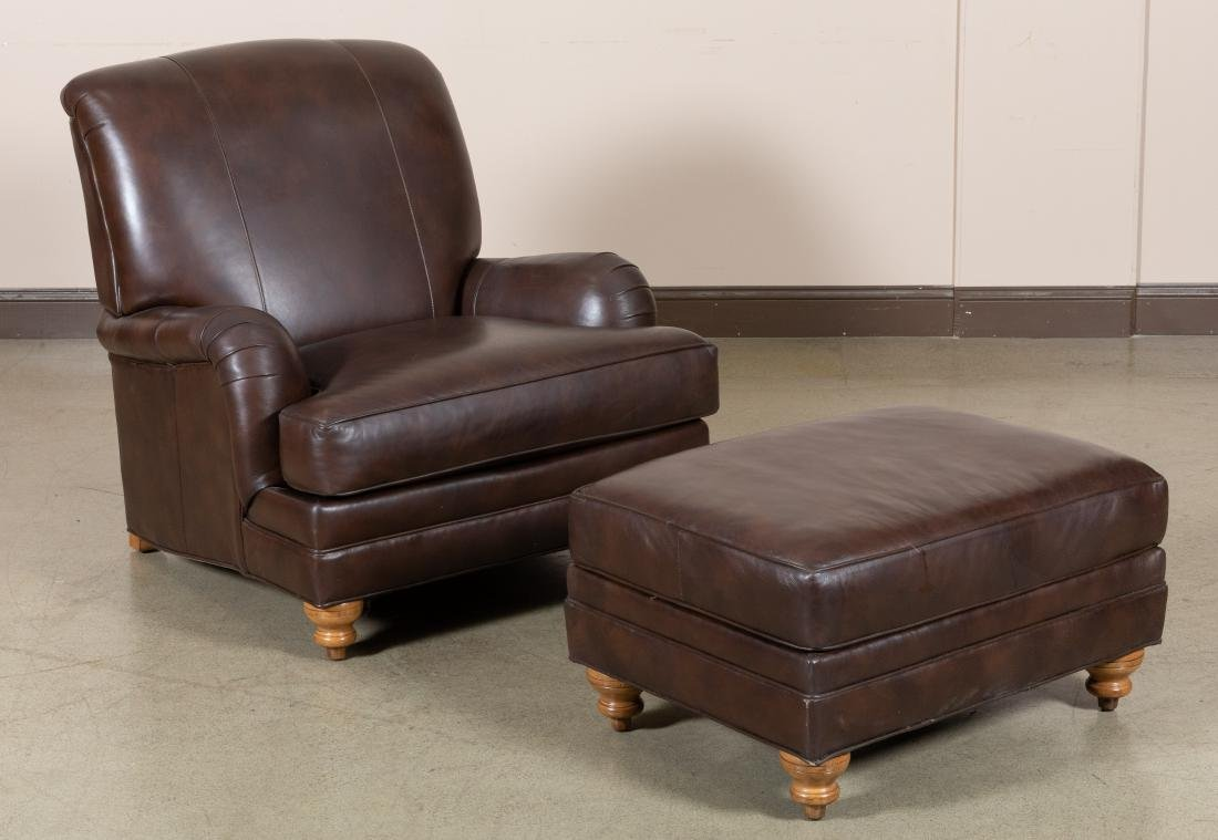 Ethan Allen Leather Club Chair and Ottoman