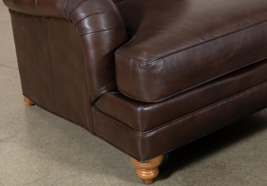 Ethan Allen Leather Club Chair and Ottoman - 2