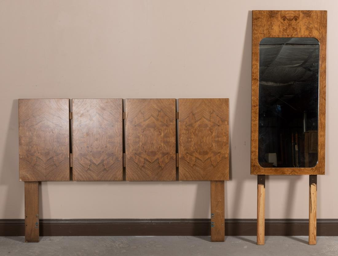 Milo Baughman Burl Headboard and Mirror