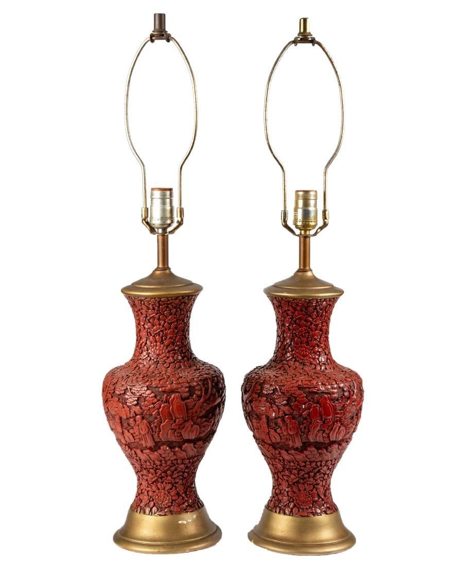 Pair Cinnabar Style Lamps