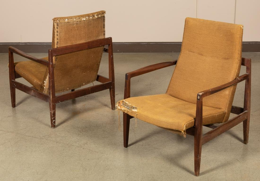 Pair Teak Sculpted Arm Chairs