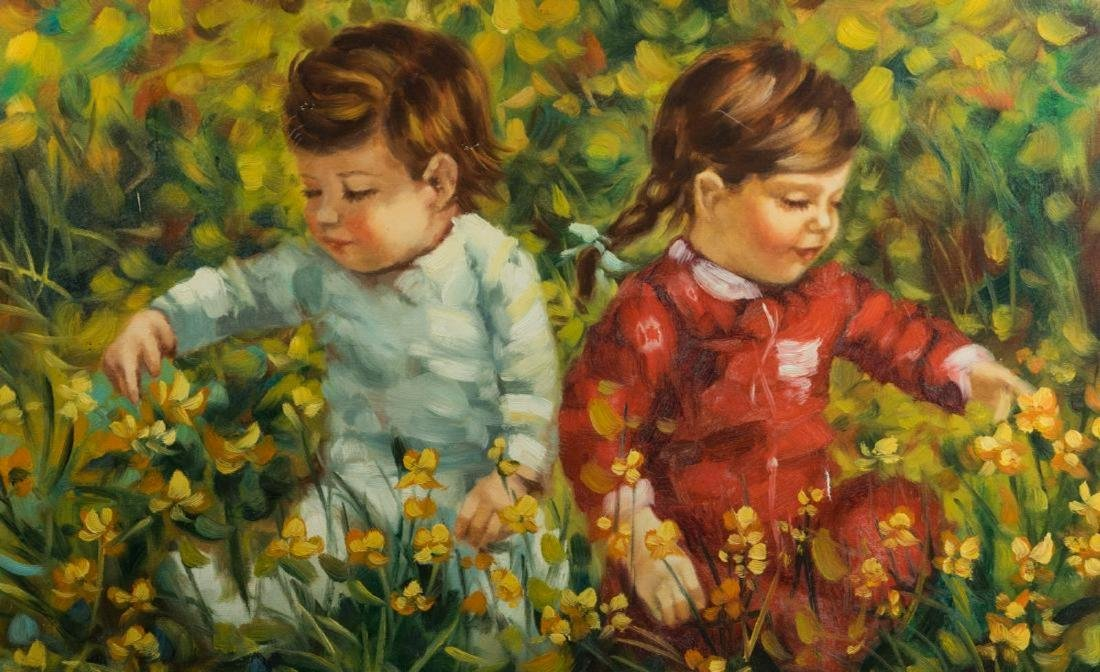 Oil on Canvas of Children - Giltwood Frame Signed - 2