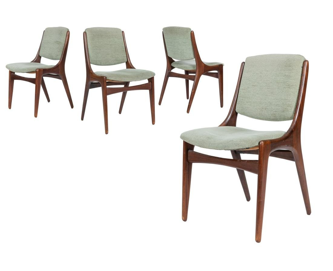 Danish Style Walnut Dining Chairs - Four