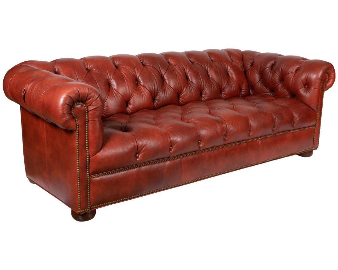 Ethan Allen   Chesterfield Leather Sofa