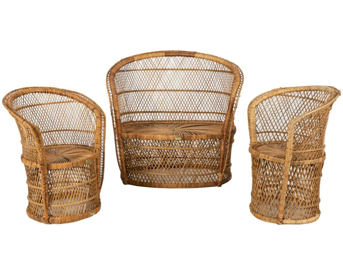 Rattan Settee and Pair Chairs