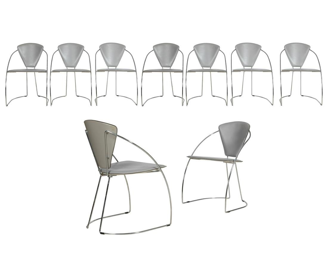 Italian Style Chrome and Leather Chairs