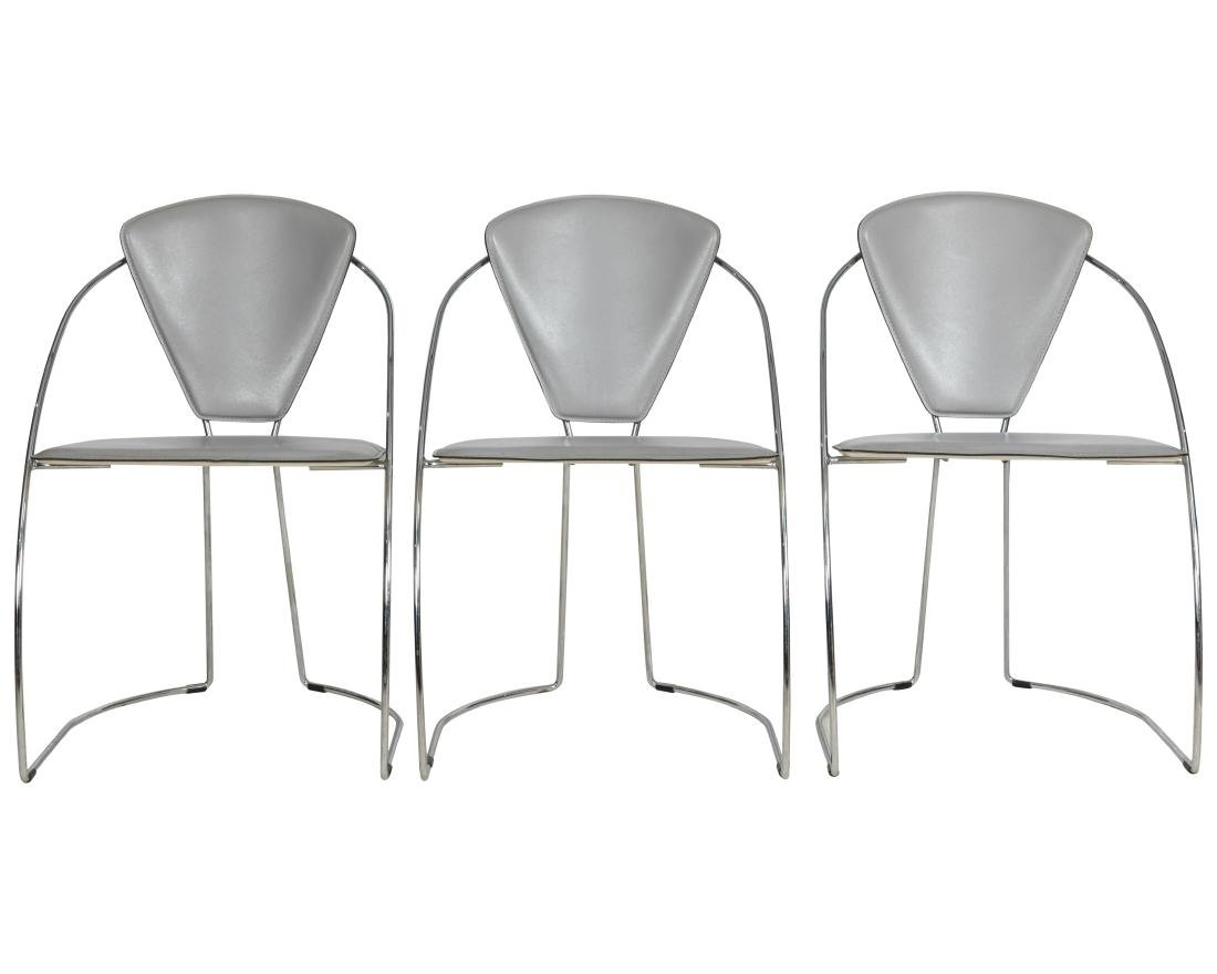 Italian Style Chrome and Leather Chairs - 2