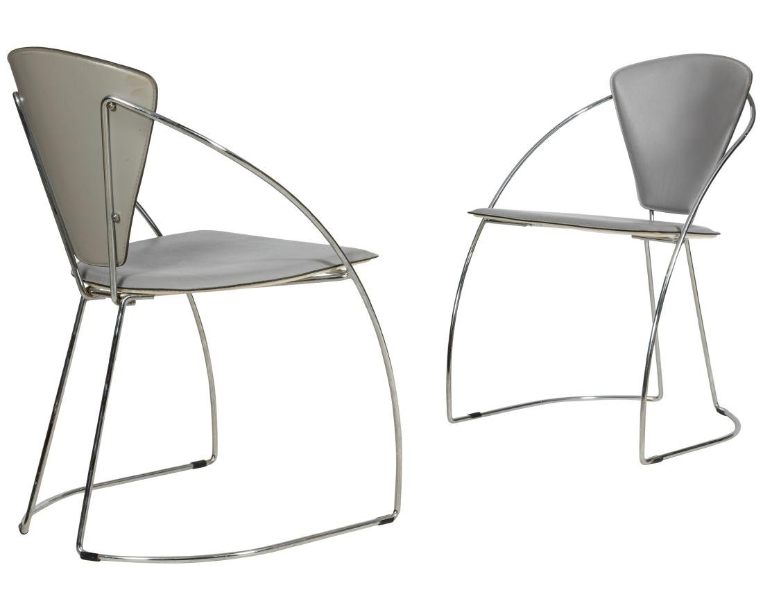 Italian Style Chrome and Leather Chairs - 3