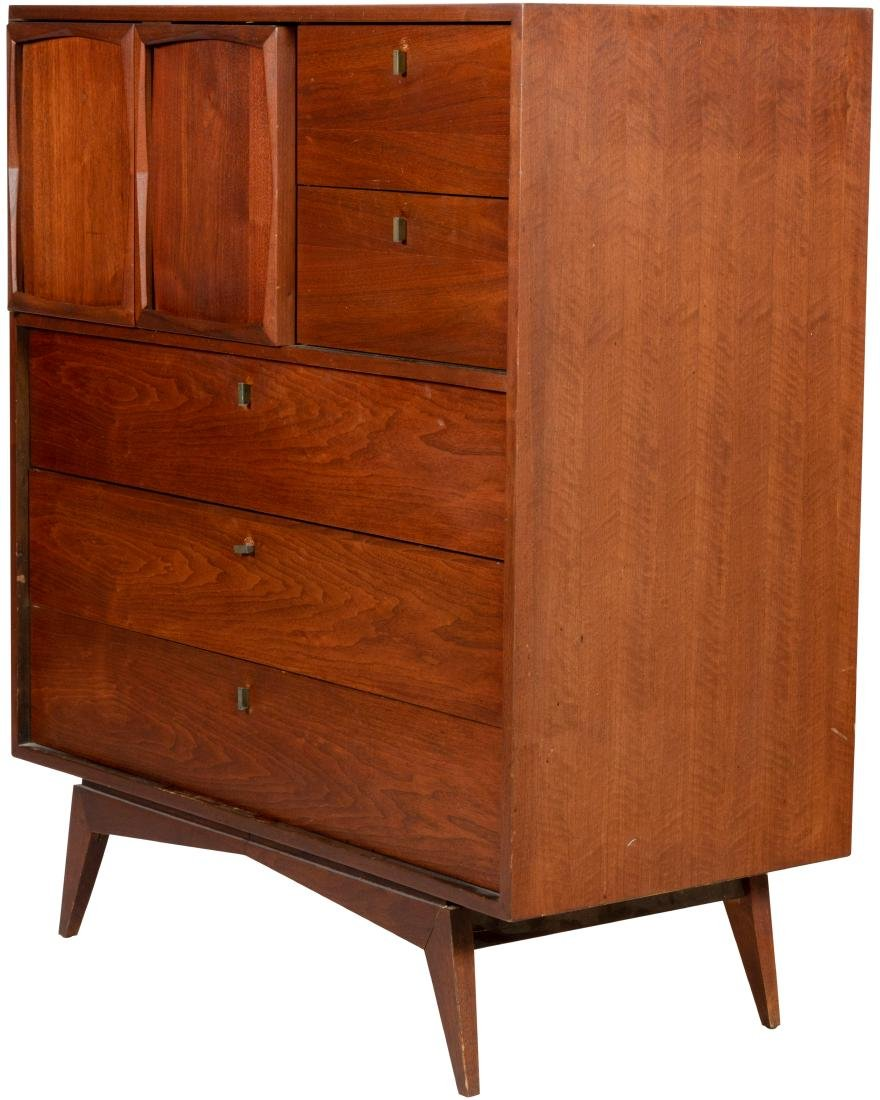 Walnut High Chest with Paneled Doors