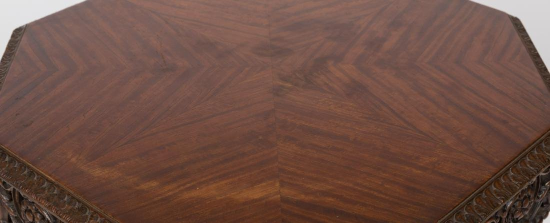 Carved Walnut Octagonal Table - 2