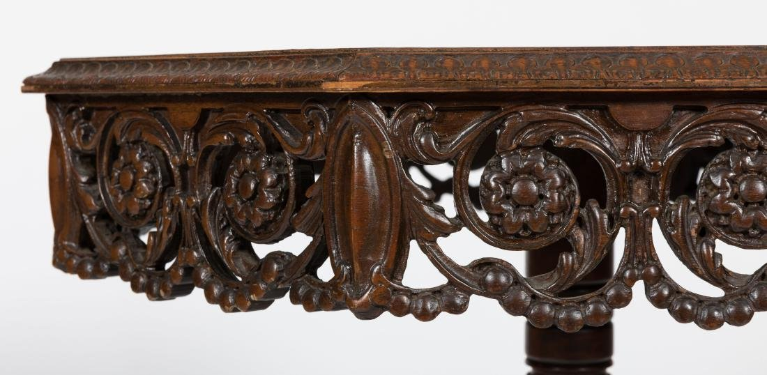 Carved Walnut Octagonal Table - 3