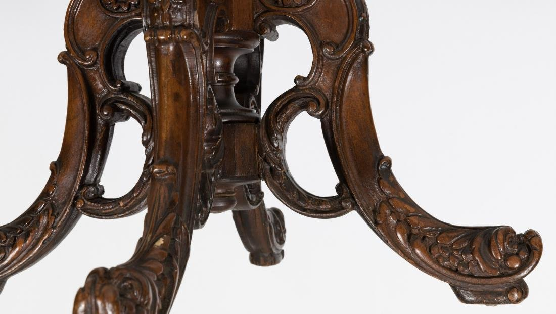 Carved Walnut Octagonal Table - 4