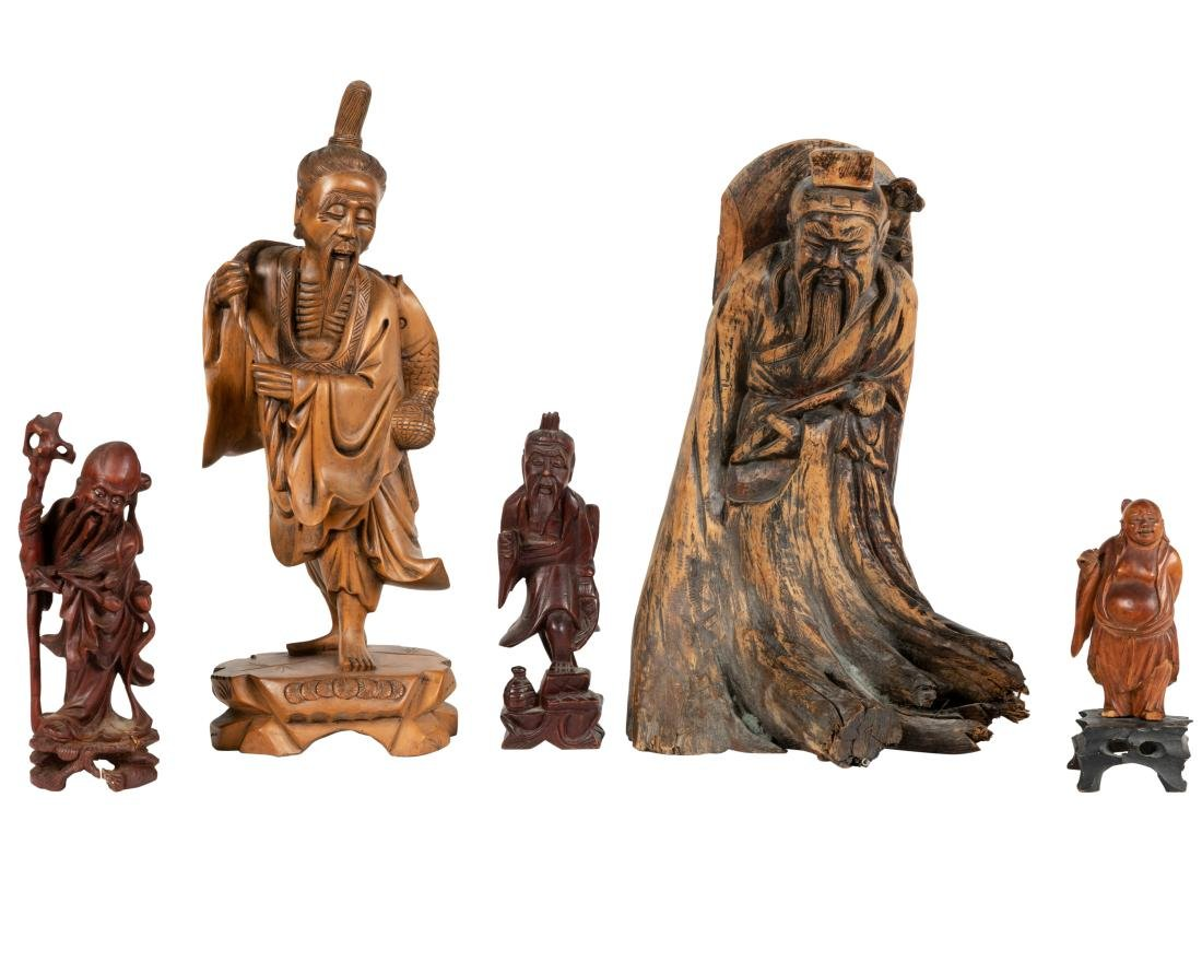 Group of Chinese Wood Carvings