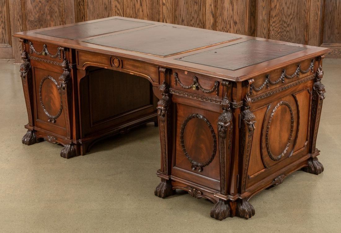 Figural Mahogany Partners Desk