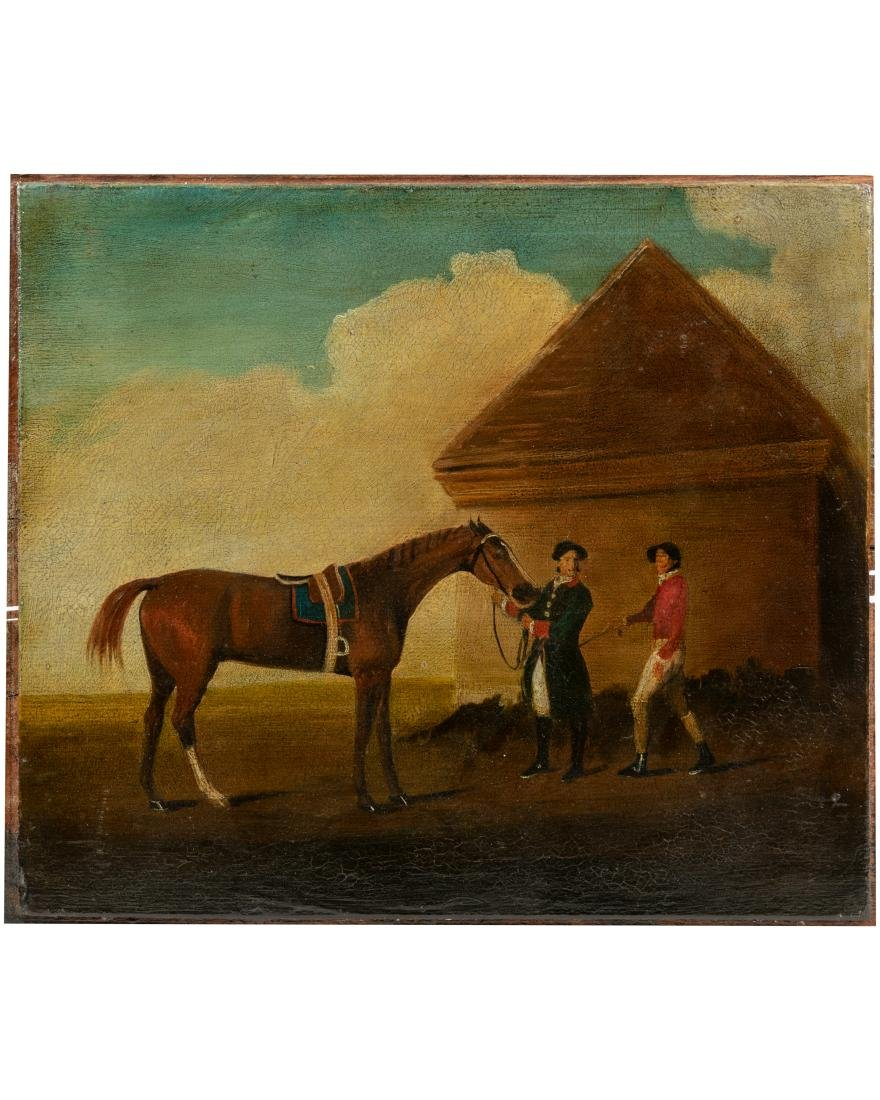 19th c. Equestrian Oil on Canvas Board