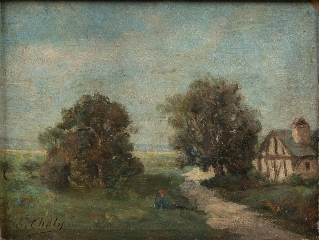French Landscape - Oil on Board - Signed - 2