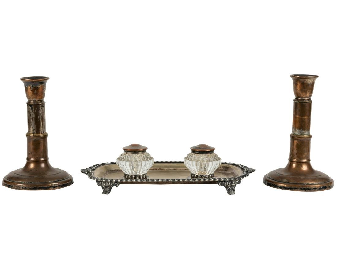 Pair of Mortons Candlesticks and Inkwell