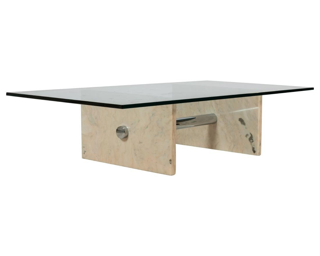 Marble, Chrome and Glass Coffee Table