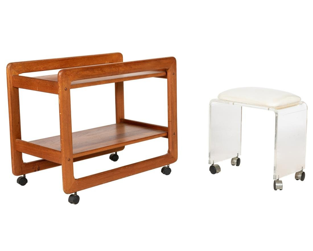 Teak Cart and Lucite Bench