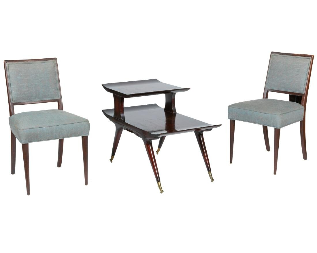 Pair Danish Style Side Chairs and Table