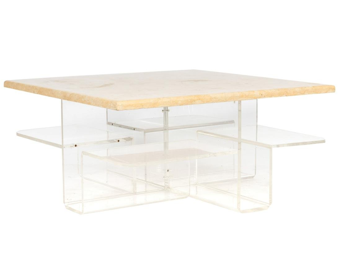 Lucite Marble Top Coffee Table