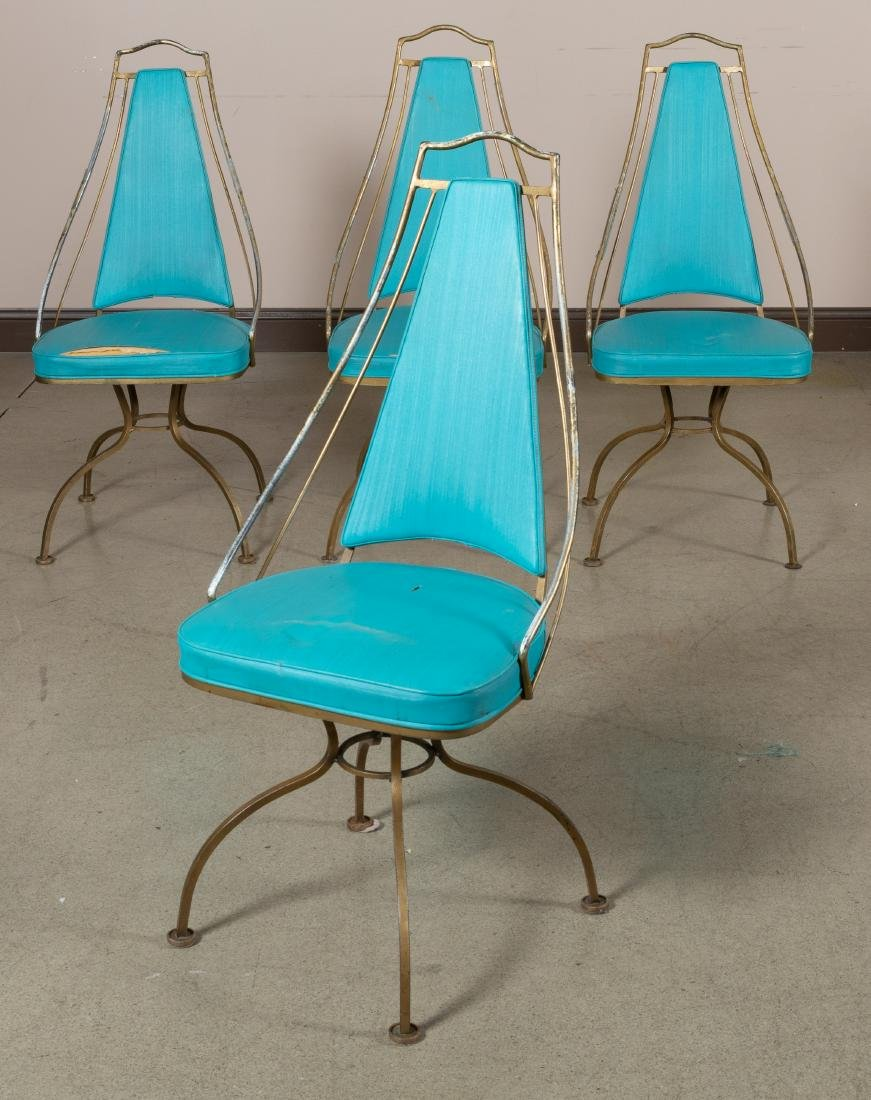 Iron Atomic Swivel Cafe Chairs - Four