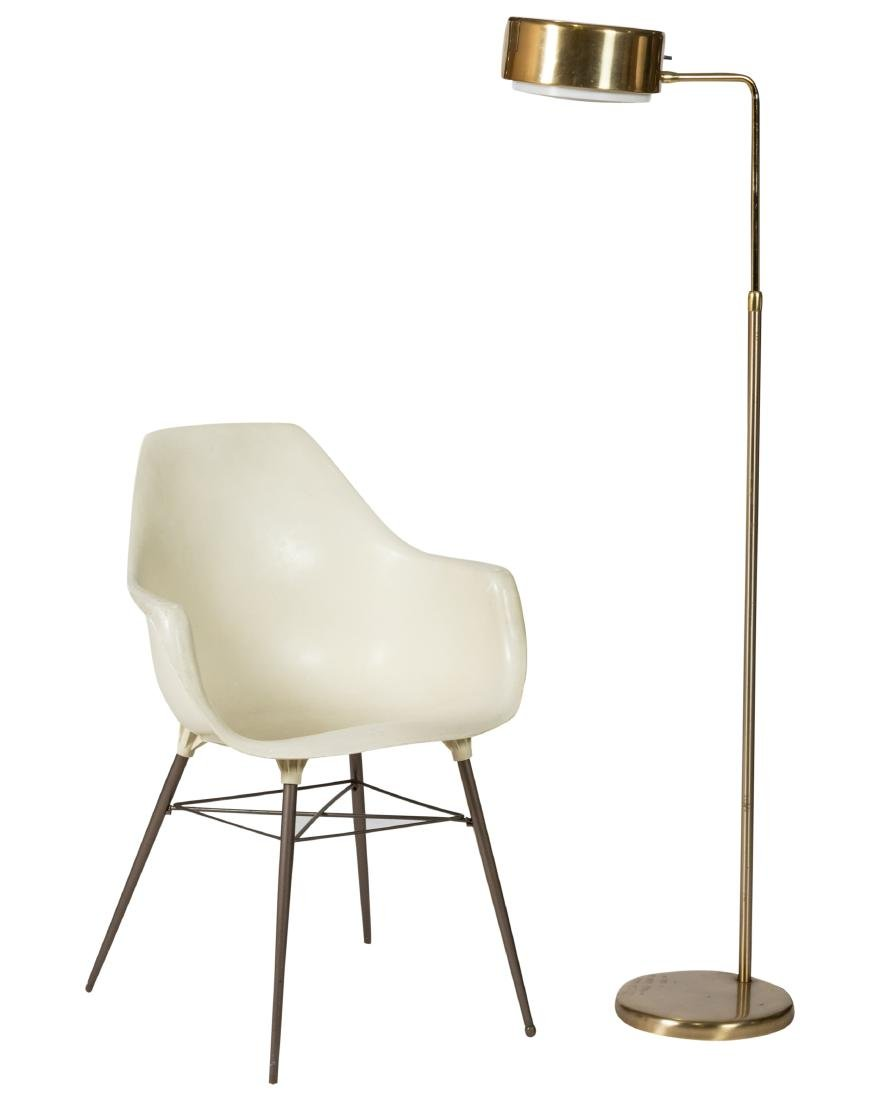 Brass Floor Lamp - Eames Style Chair