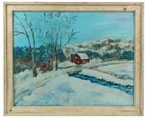 W.E. Baum - Oil on Board Winter Scene