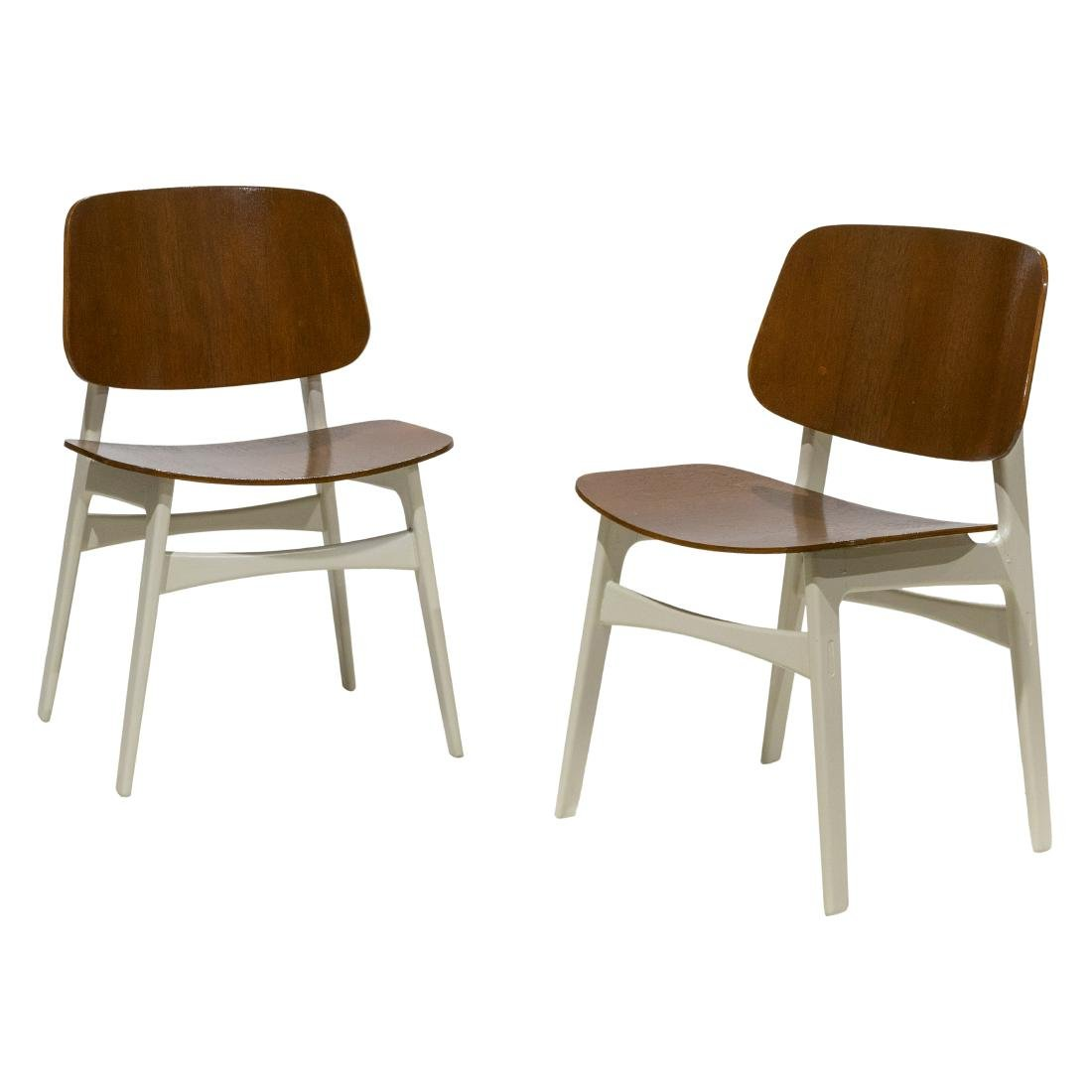 Pair Danish Style Side Chairs