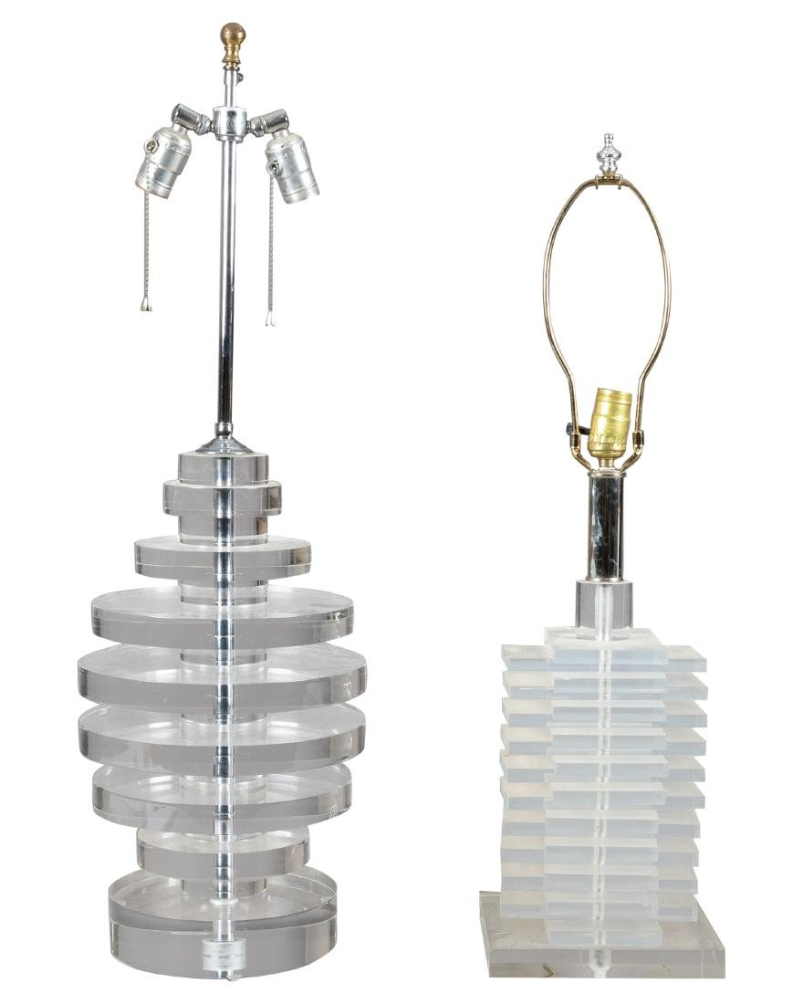 Two Stacked Lucite Lamps