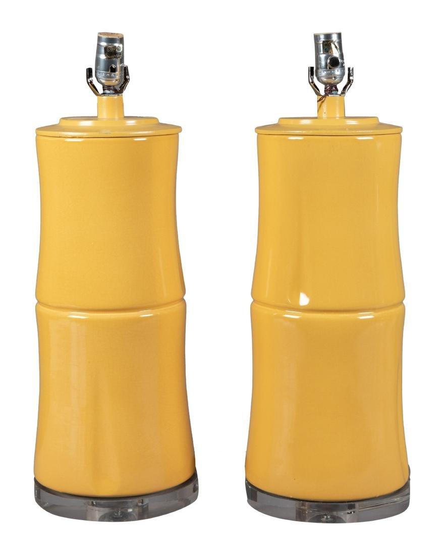 Pair Lucite and Ceramic Lamps