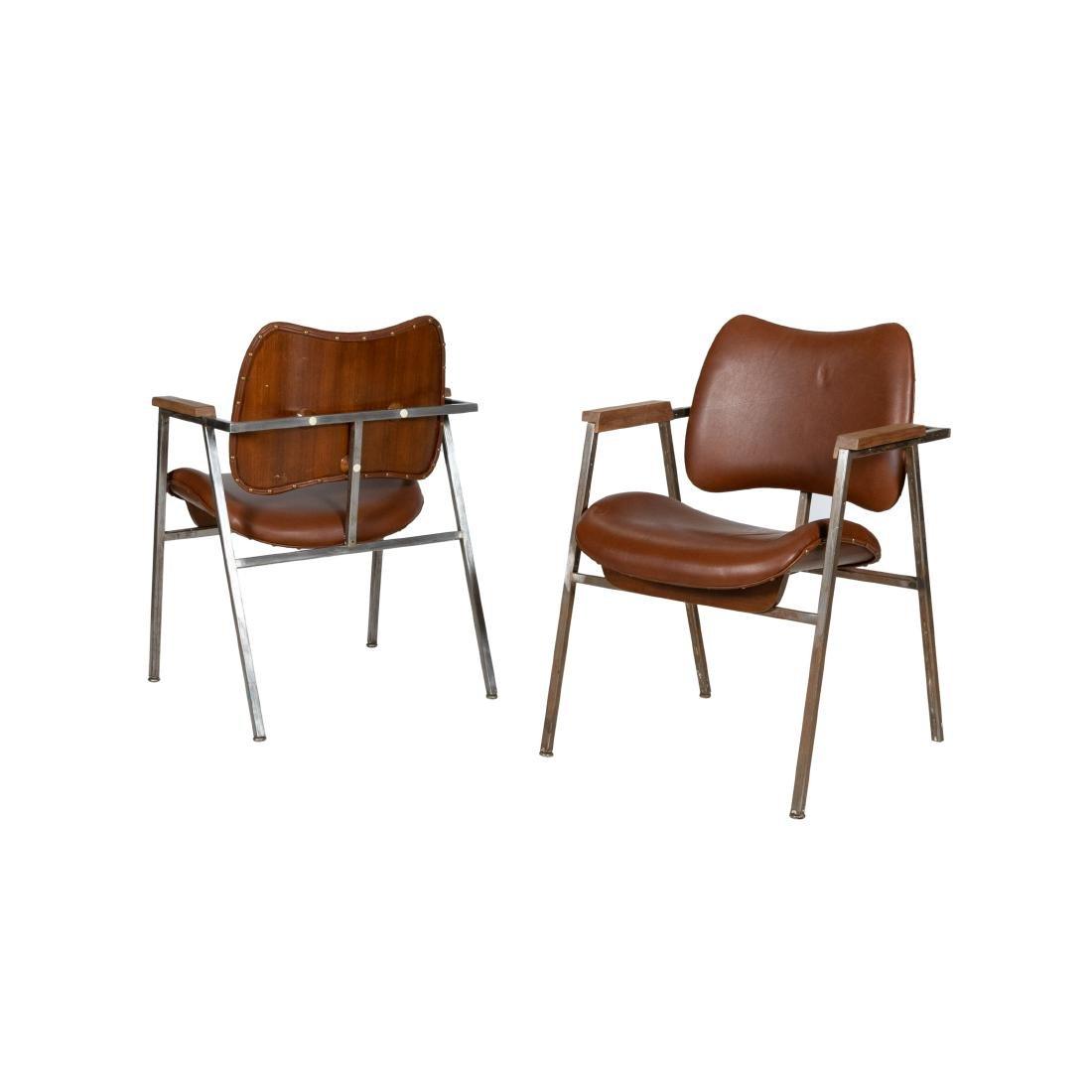 Pair Steel Arm Chairs