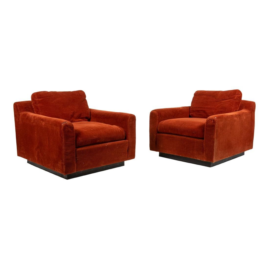 Pair Large Mid Century Lounge Chairs