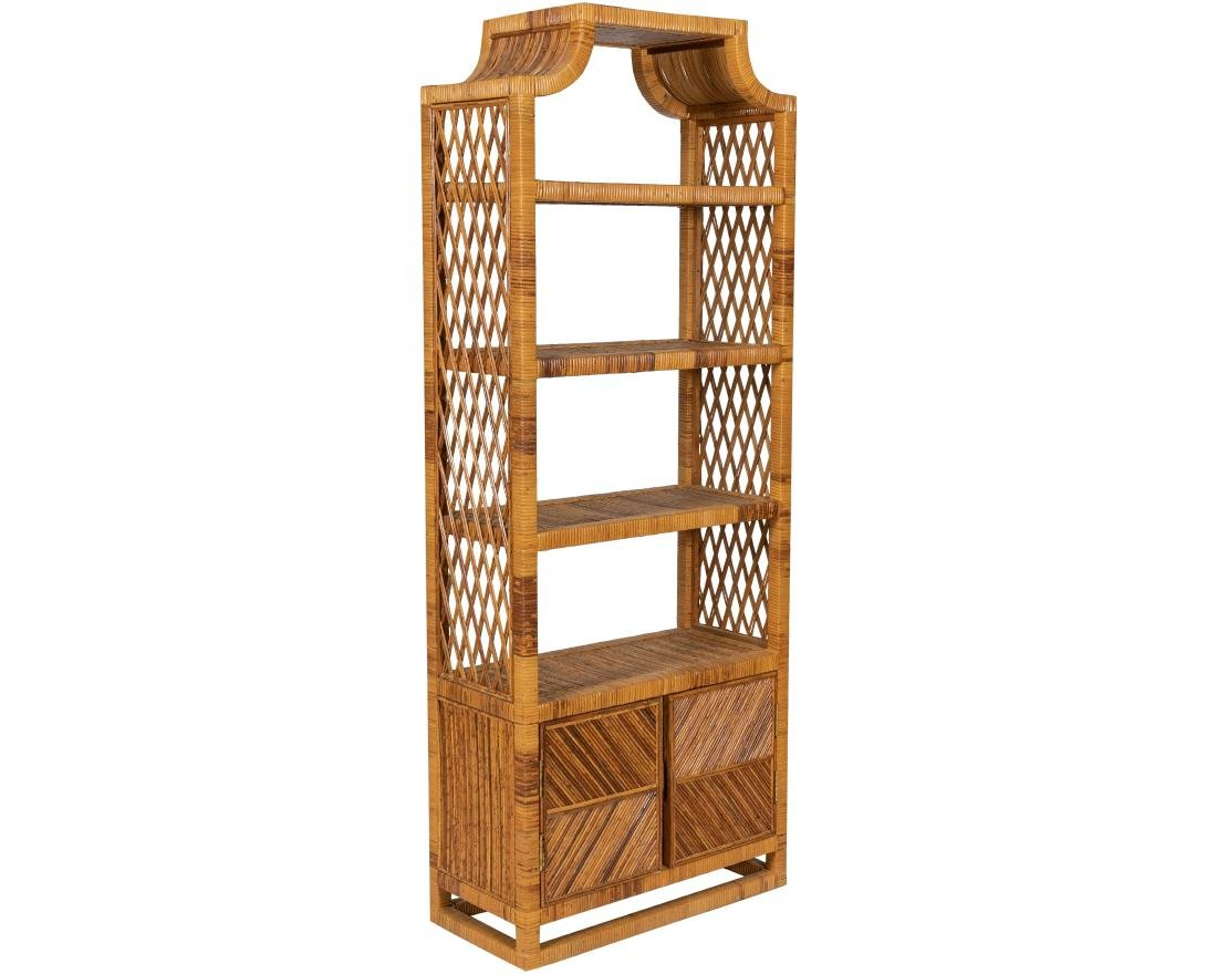 Rattan Wrapped Wooden Etagere