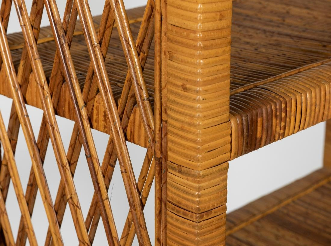 Rattan Wrapped Wooden Etagere - 2