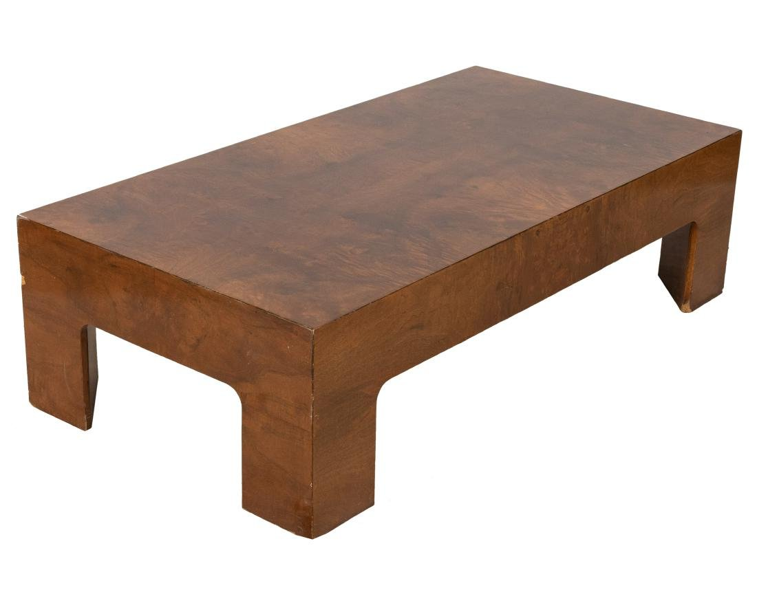 Milo Baughman Style Burled Coffee Table