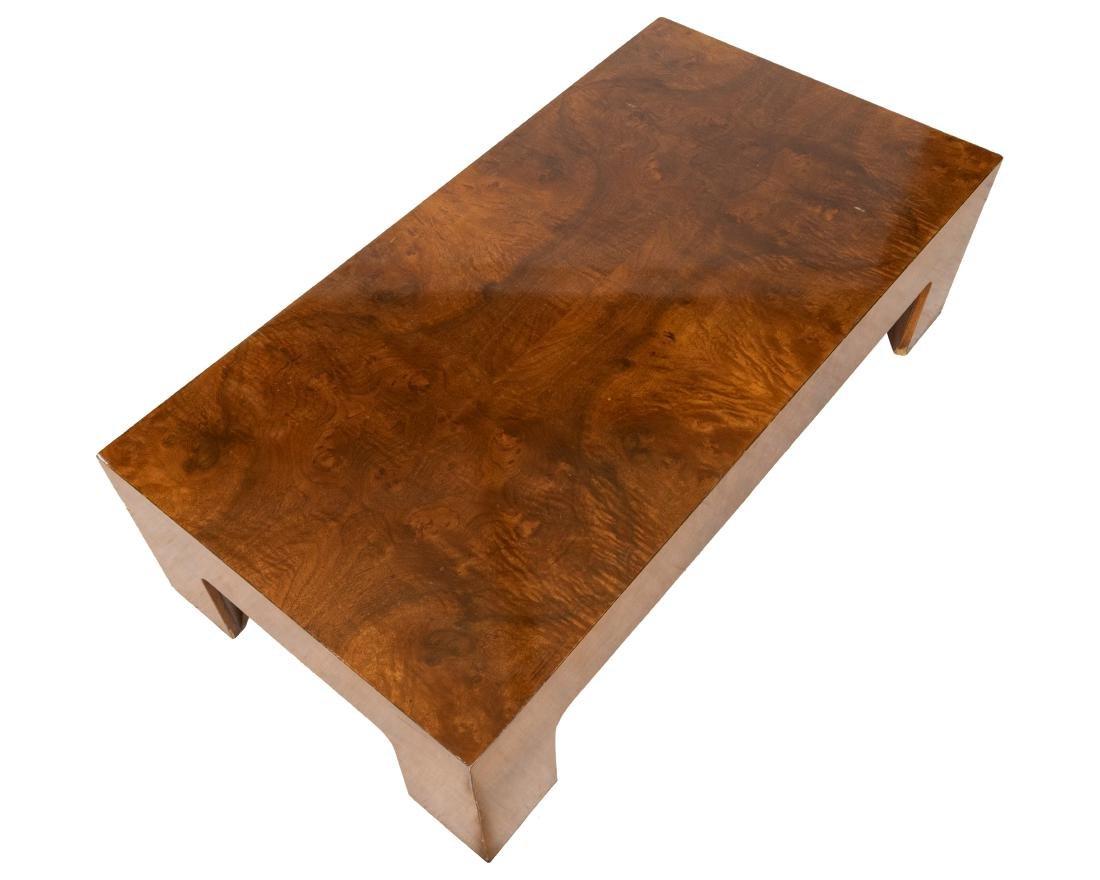 Milo Baughman Style Burled Coffee Table - 2