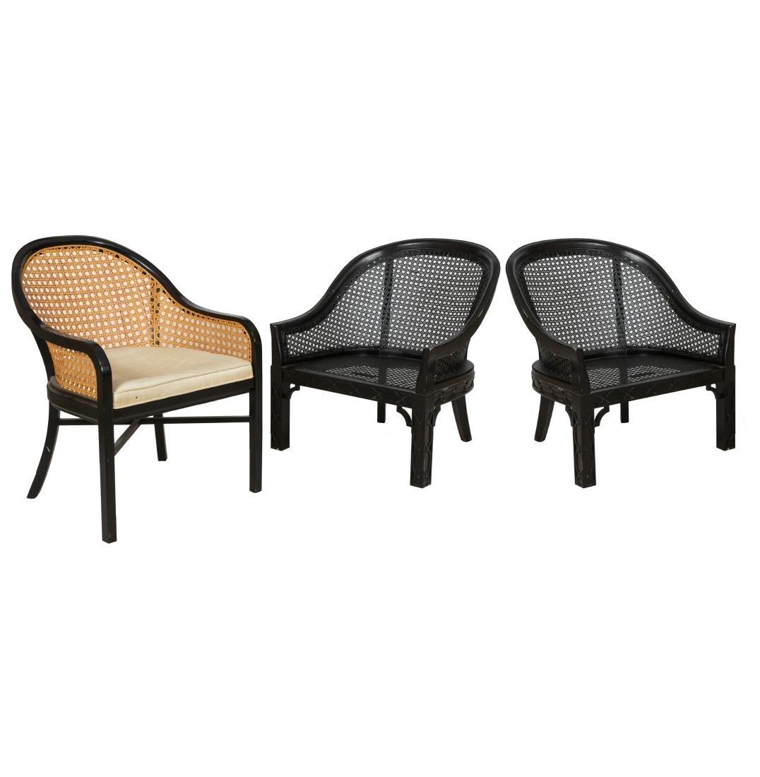 Three Cane Lounge Chairs