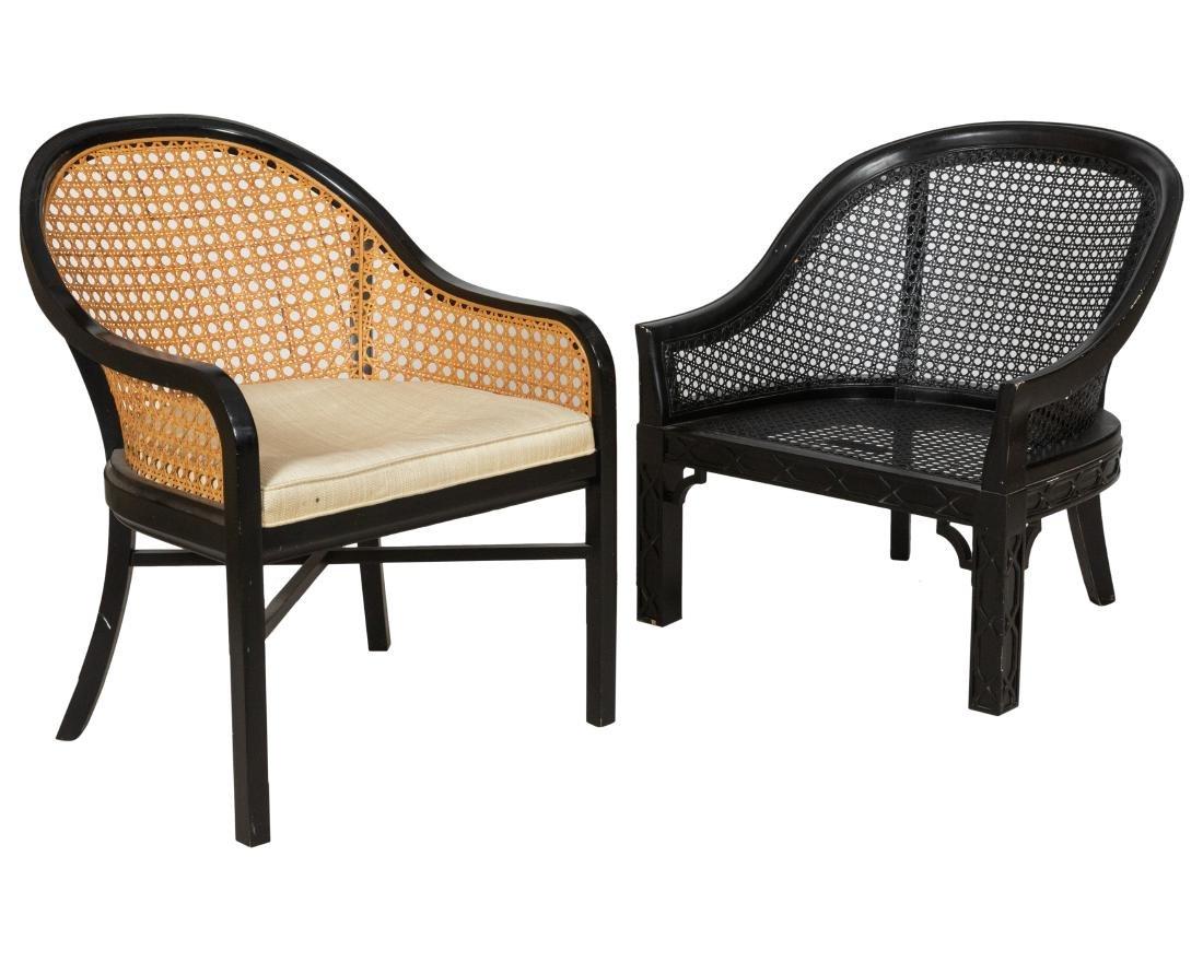 Three Cane Lounge Chairs - 2