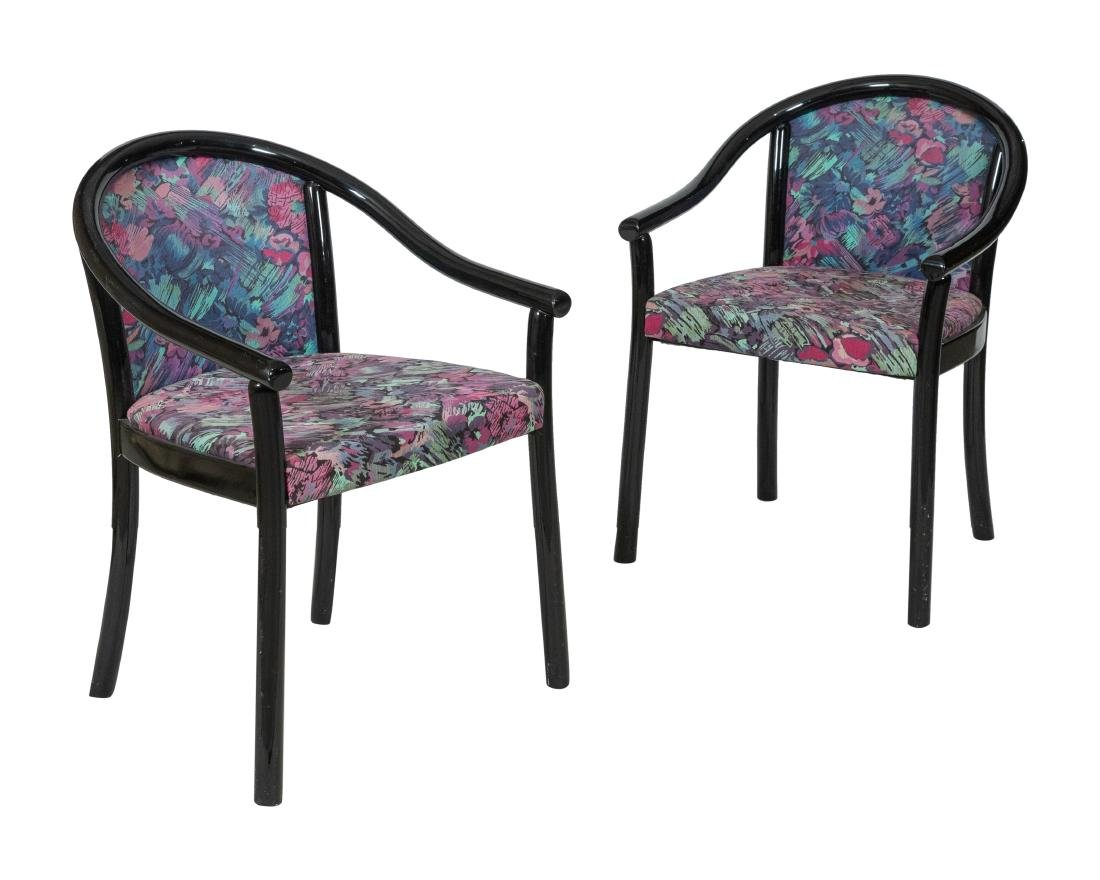 Danish Style Lacquer Arm Chairs