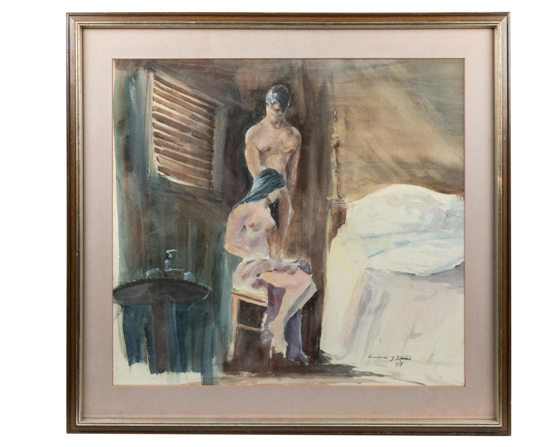 Figural Nude Watercolor - Signed and Dated