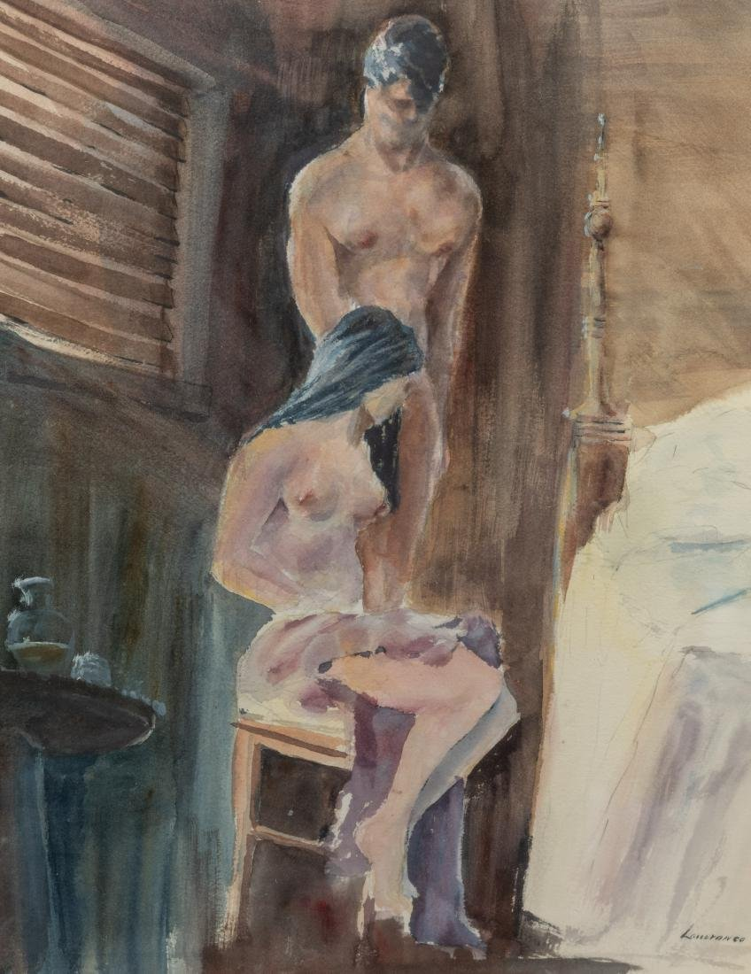 Figural Nude Watercolor - Signed and Dated - 2
