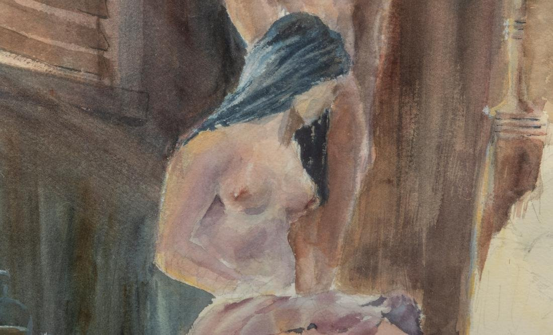 Figural Nude Watercolor - Signed and Dated - 4