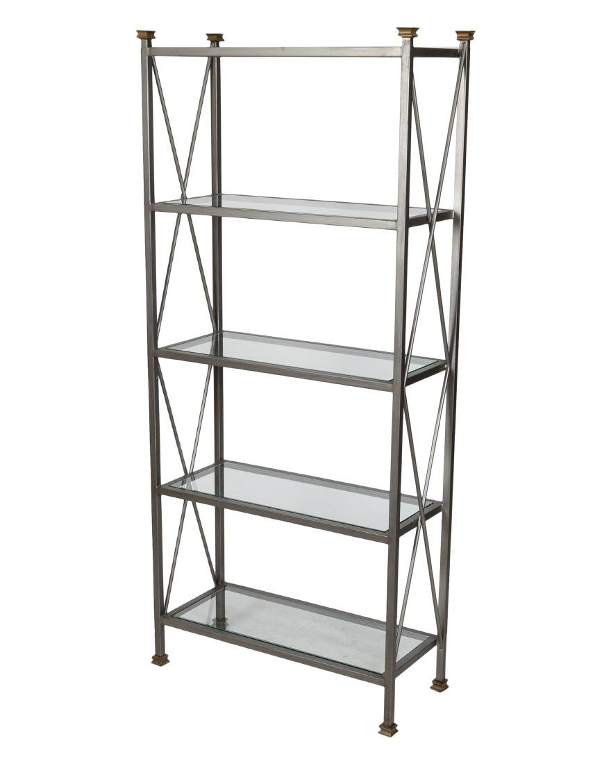 Brushed Steel and Glass Etagere