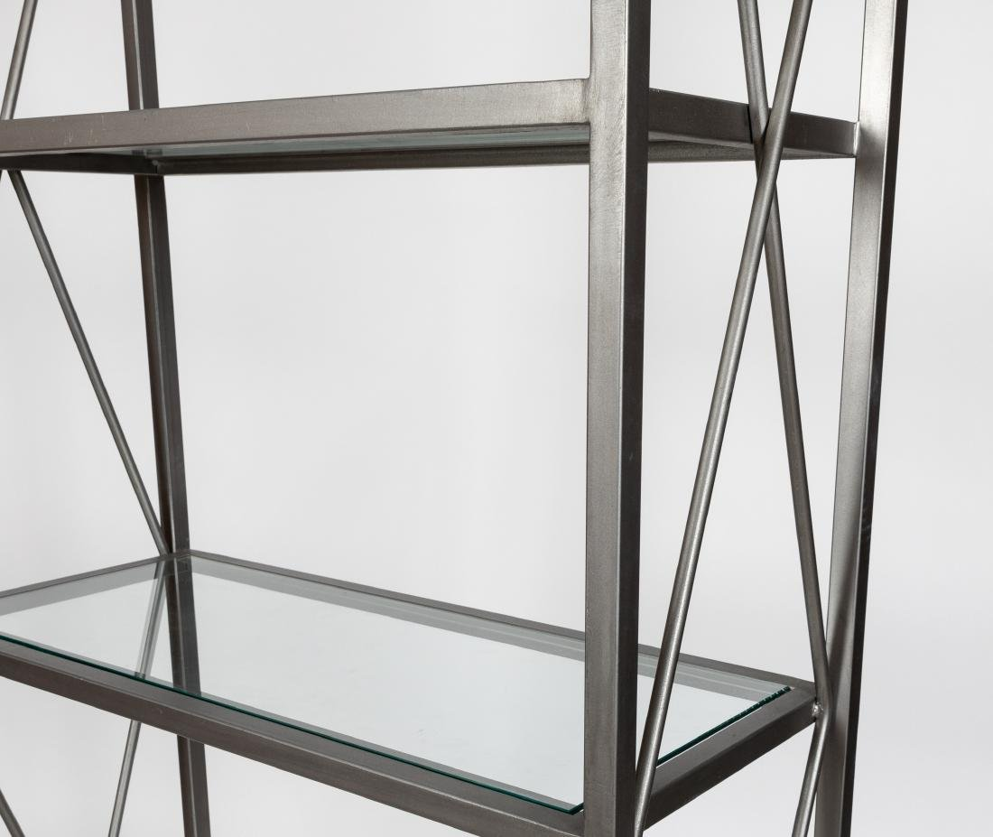 Brushed Steel and Glass Etagere - 2