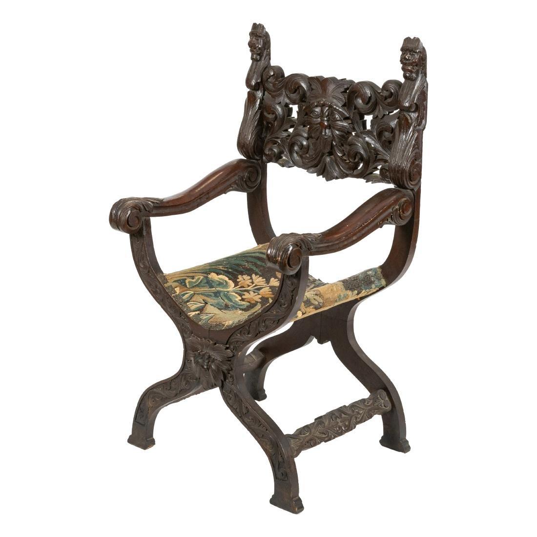 Carved Oak Figural Savonarola Chair