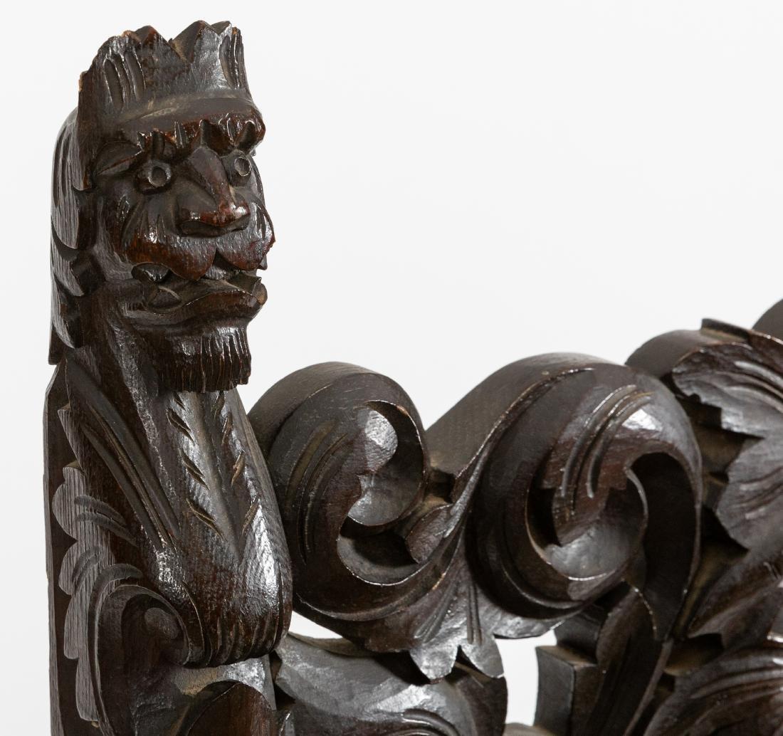 Carved Oak Figural Savonarola Chair - 4