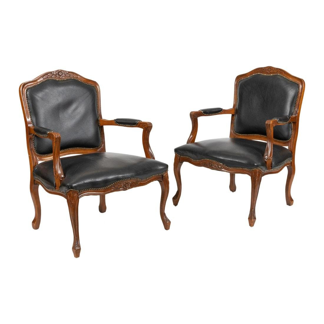 French Style Leather  Arm Chairs - Pair