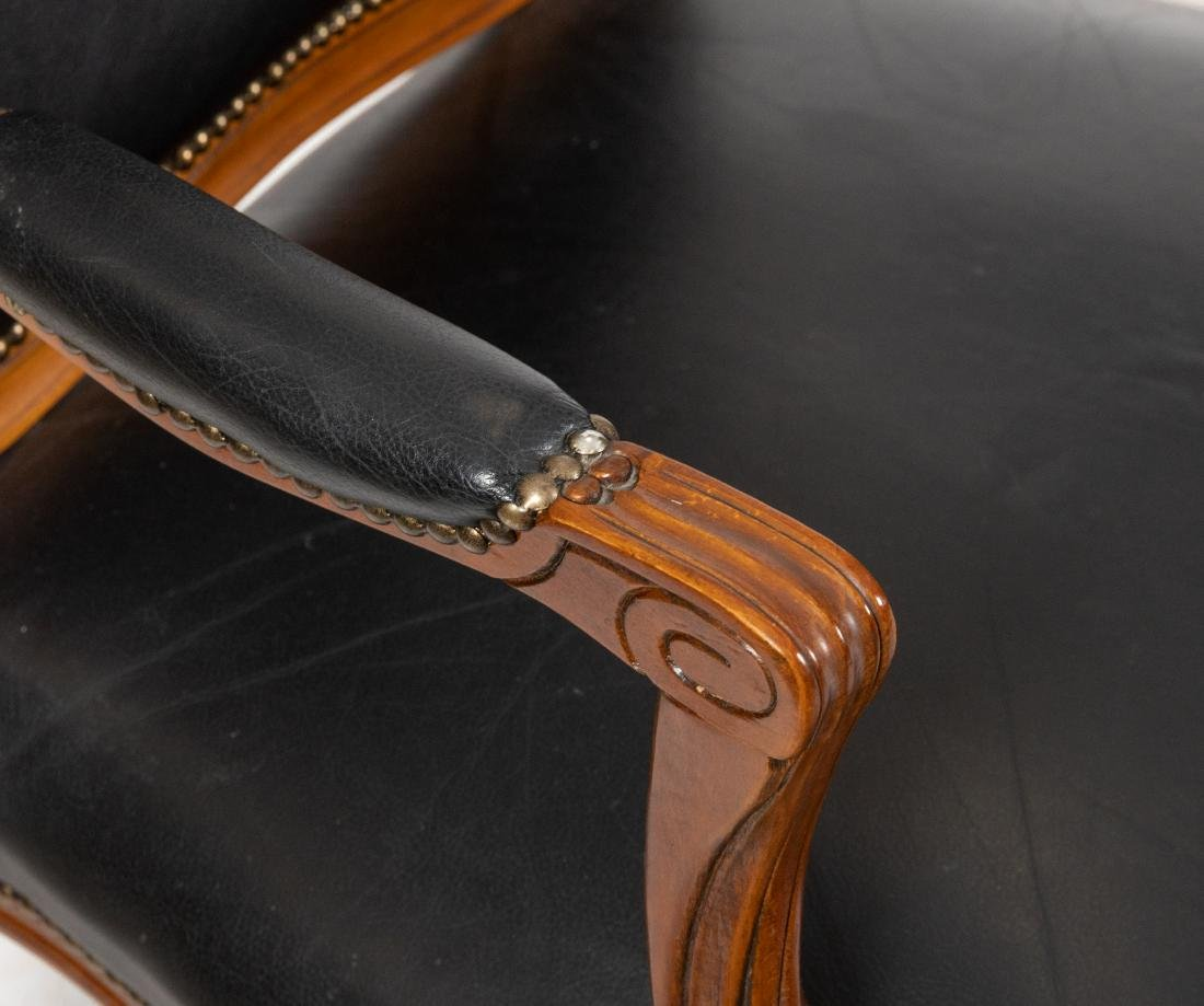 French Style Leather  Arm Chairs - Pair - 2